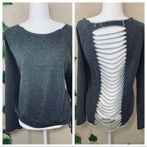 Tobi Cut Out Distressed Gray Sweater